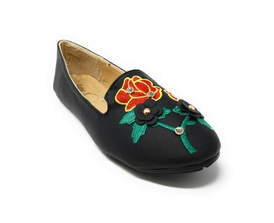 Victoria K Woman Ballerina Slip-on Embroidered Black Flats Image 2
