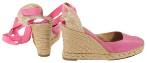 Christian Louboutin Wedge Canvas Ankle Pink Platforms
