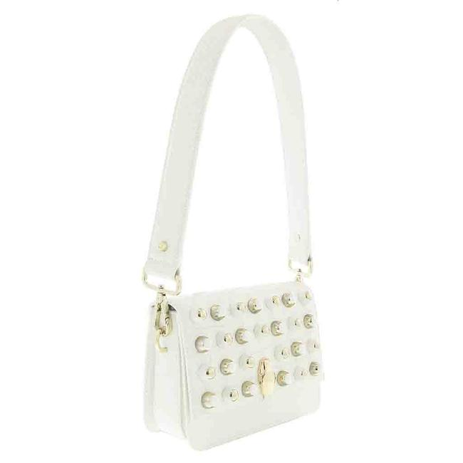 Item - Class Medium White Calf Leather and Synthetic Leather Mixed Construction Shoulder Bag