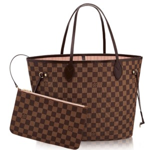 16357b91fd8d Louis Vuitton Neverfull Mm Rose Ballerine Damier Ebene Tote in Brown