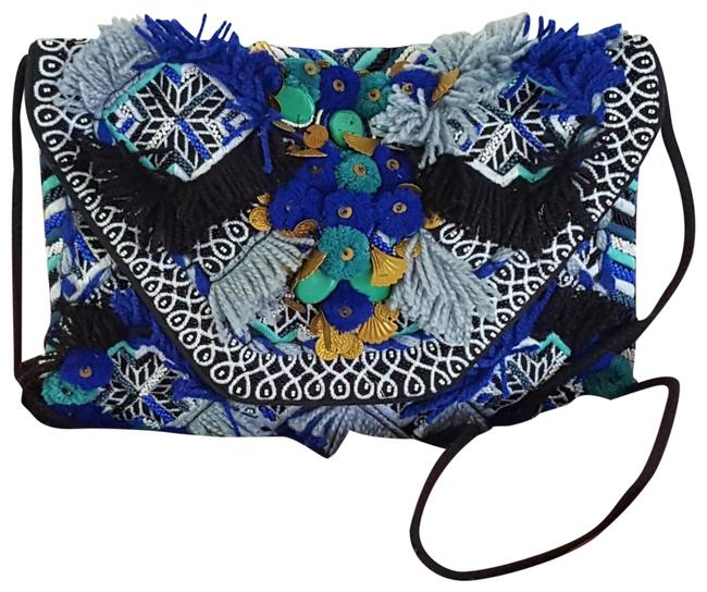 Item - Braided Embellished Black and Blue Cotton Cross Body Bag