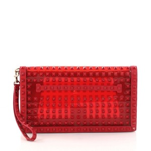 Valentino Rockstud Leather Red Clutch