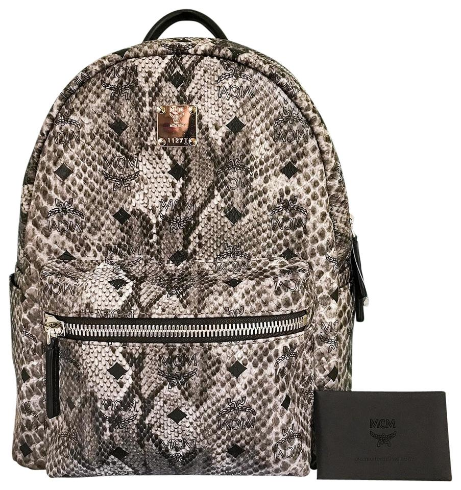 d3dad19178 MCM Visetos Stark Gray Snakeskin Leather Backpack - Tradesy