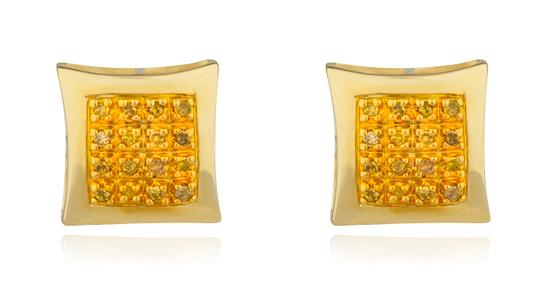 JMD LUX 10K Gold .10Ct Yellow Diamond Stud Earrings 8mm Kite Dome, Screw Back Image 1