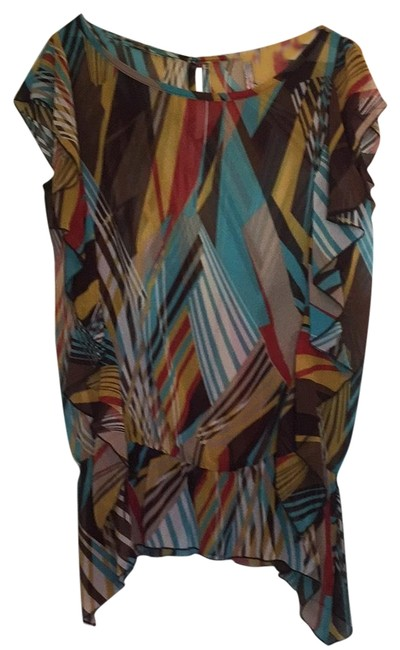 Preload https://img-static.tradesy.com/item/23210531/brown-blue-yellow-fun-for-a-night-out-blouse-size-12-l-0-1-650-650.jpg