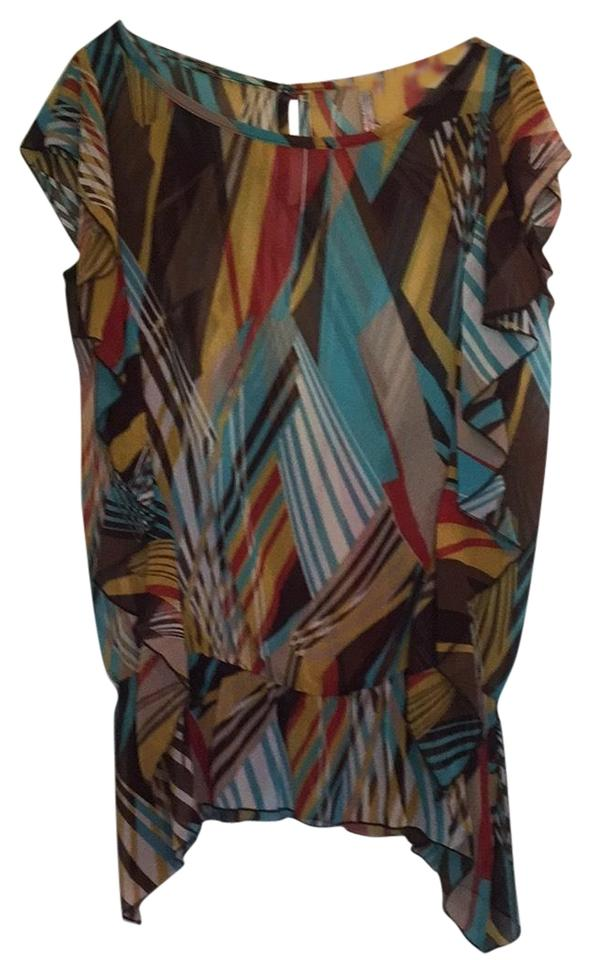 Brown Blue Yellow Fun For A Night Out Blouse Size 12 L Tradesy