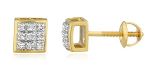 JMD LUX 10K Gold .05Ct Diamond Stud Earrings 5mm Square Dome, Screw Back Studs