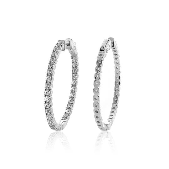 Avital & Co Jewelry 14k White Gold 2.15 Ct Round Cut Diamond Inside/Outside Hoop Earrings