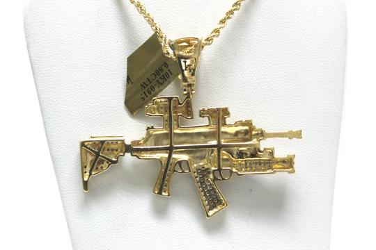 Other 10K Yellow Gold Rope Chain with Gun Charm Pendant Necklace