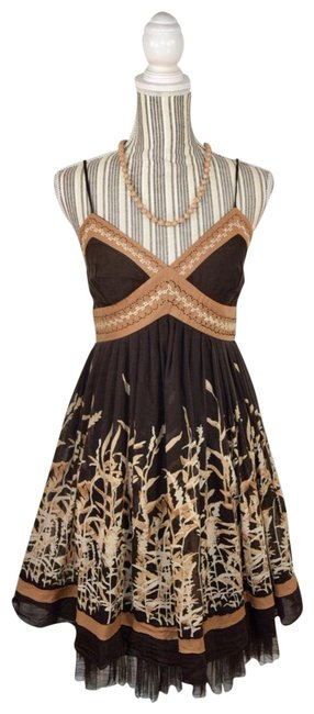 Preload https://img-static.tradesy.com/item/23210831/bcbgmaxazria-brown-tan-cream-silk-blend-mid-length-short-casual-dress-size-6-s-0-1-650-650.jpg