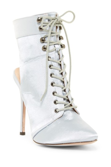 Chase & Chloe Lace Up Stiletto Silver Boots