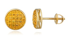 JMD LUX 10K Gold .10Ct Yellow Diamond Earrings 8mm Round Dome Screw Back Studs