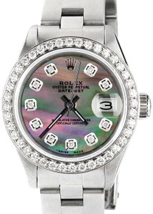 Rolex Datejust Ladies 26mm Steel Oyster w/Tahitian MOP Dial & Diamond Bezel