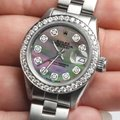 Rolex Datejust Ladies 26mm Steel Oyster w/Tahitian MOP Dial & Diamond Bezel Image 1