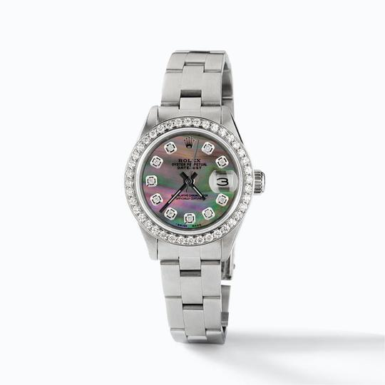 Rolex Datejust Ladies 26mm Steel Oyster w/Tahitian MOP Dial & Diamond Bezel Image 2
