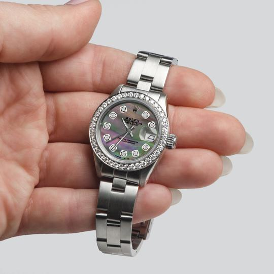 Rolex Datejust Ladies 26mm Steel Oyster w/Tahitian MOP Dial & Diamond Bezel Image 4