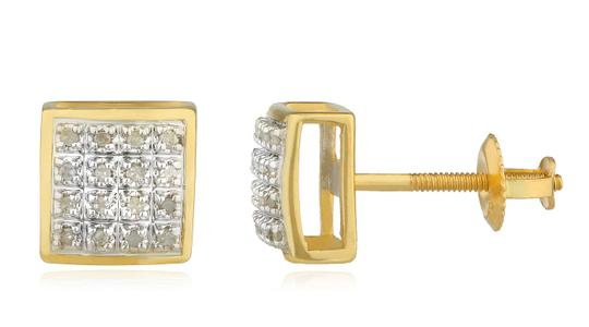 JMD LUX 10K Gold .10Ct Diamond Stud Earrings 7mm Square Dome, Screw Back Studs