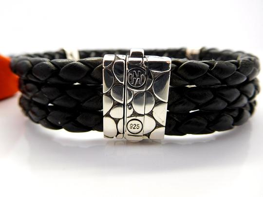 John Hardy John Hardy Sterling Silver & Black Leather Bracelet