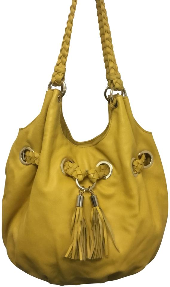 9a1be9c674cd MICHAEL Michael Kors Braided Grommet Yellow Leather Tote - Tradesy