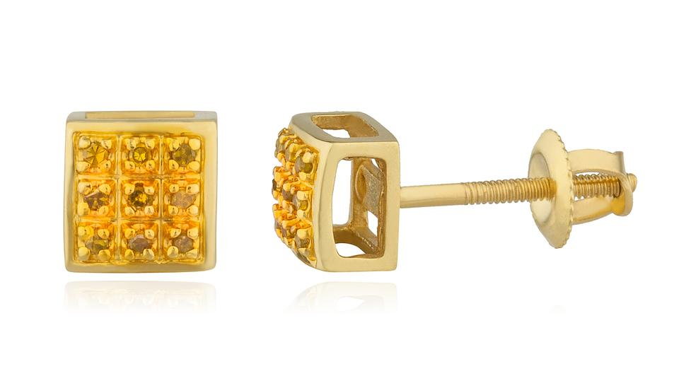 Gold 10k 05ct Yellow Diamond 5mm Square Dome Back Studs Earrings 84 Off Retail