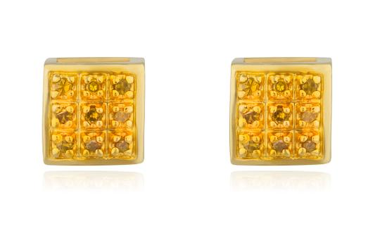 JMD LUX 10K Gold .05Ct Yellow Diamond Earrings 5mm Square Dome Screwback Studs