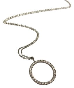 Protea Diamonds Pave Diamond Circle Pendant, 18 Karat White Gold
