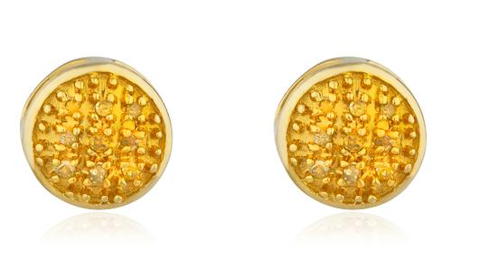 JMD LUX 10K Gold .05Ct Yellow Diamond 6mm Earrings Round Dome Screw Back Studs