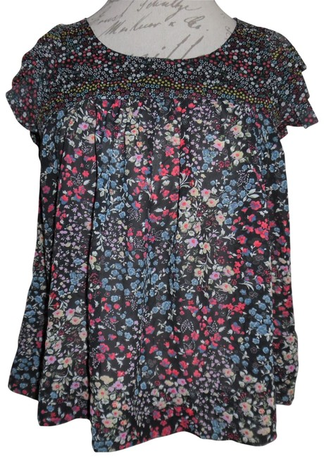 Forever 21 Flowers Ruffled Top Black, Red, Ivory, Blue
