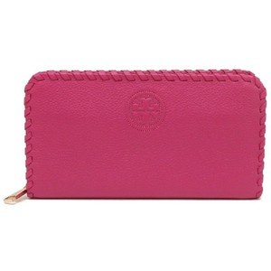 Tory Burch NEW Tory Burch Marion Leather Multi Zip Continental Pink Wallet Bag