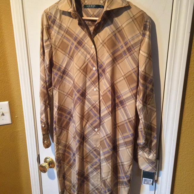 Lauren Ralph Lauren short dress Tan & Blue Plaid Brown Shirt-dress Sexy Long-sleeve on Tradesy