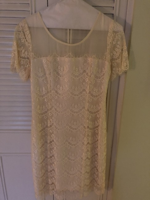 Piperlime Lace Short Sleeve Cream Dress