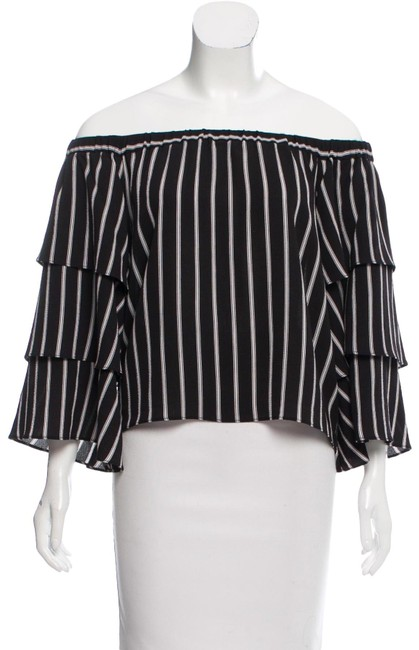 Preload https://img-static.tradesy.com/item/23211180/nicholas-blackwhite-off-shoulder-stripe-tiered-sleeve-blouse-size-2-xs-0-3-650-650.jpg
