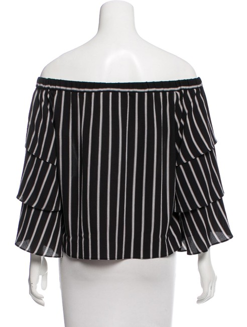 NICHOLAS Tiered Off-shoulder Stripes Top black/white