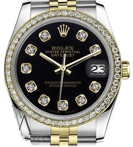 Rolex Womens Rolex 26mm Datejust Tone Black Color Dial With Diamonds Watch
