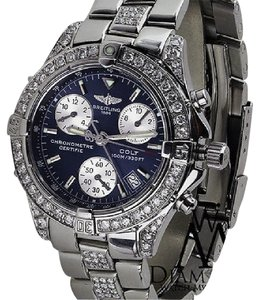 Breitling Diamond Breitling Colt Chronograph A73350 Stainless Steel Watch 6ct