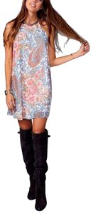 Show Me Your Mumu short dress Blue/White/Gray/Floral Tribal Garden Long Flared High Low Peta Shook Coverup Bohemian Festival on Tradesy