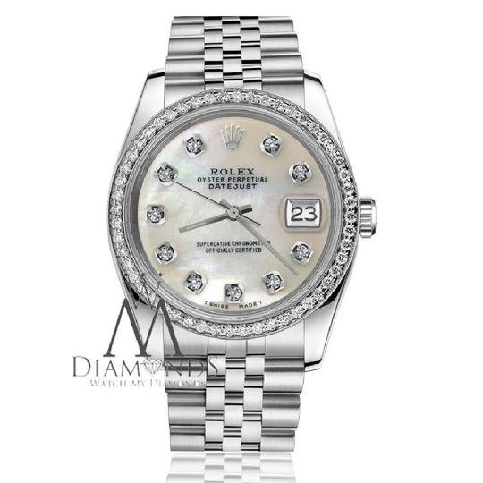 Rolex Woman's 26mm Datejust White MOP Mother Of Pearl Diamond Dial Watch