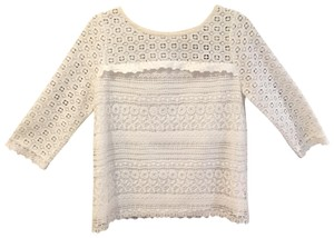 Joie On Trend Three Quarter Sleeve Spring Summer Lace Top White