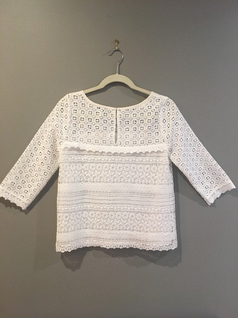 Joie On Trend Three Quarter Sleeve Spring Summer Lace Top White Image 3