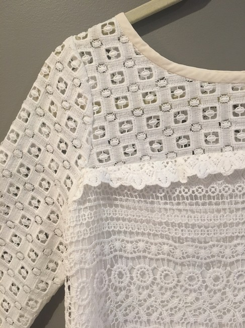 Joie On Trend Three Quarter Sleeve Spring Summer Lace Top White Image 4