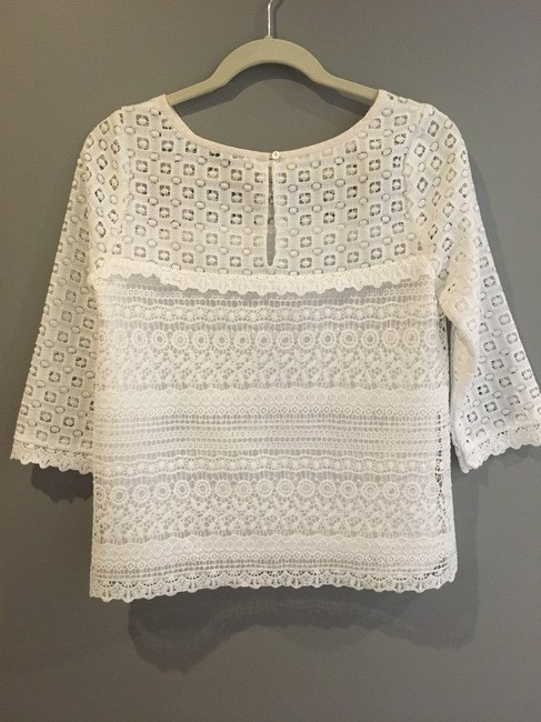 Joie On Trend Three Quarter Sleeve Spring Summer Lace Top White Image 5