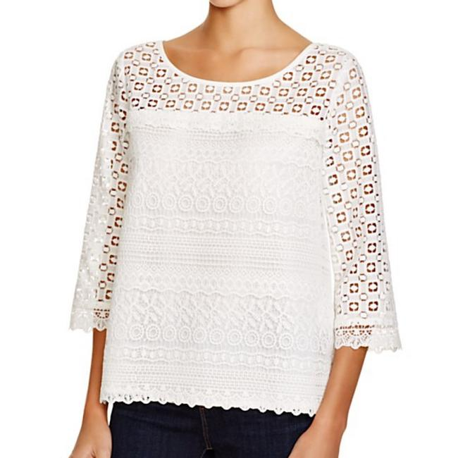 Joie On Trend Three Quarter Sleeve Spring Summer Lace Top White Image 6