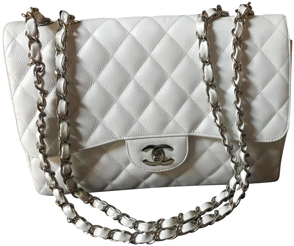 89fb8e56abf38a Chanel Classic Jumbo Single Flap White Caviar Leather Shoulder Bag ...