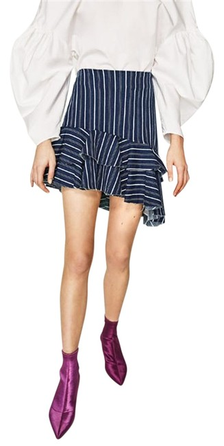Preload https://img-static.tradesy.com/item/23211394/zara-navy-blue-stretch-denim-fabric-asymmetric-frilled-hem-new-stripped-miniskirt-size-10-m-31-0-1-650-650.jpg