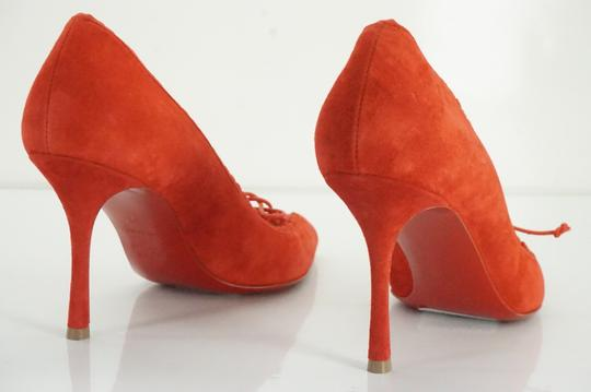 Christian Louboutin Scalopump Suede Bow Heels Red Pumps