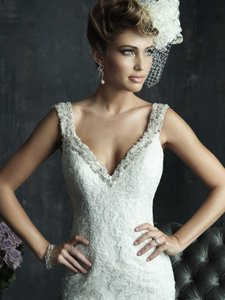 Allure Bridals Ivory/Silver Lace C261 Formal Wedding Dress Size 10 (M)