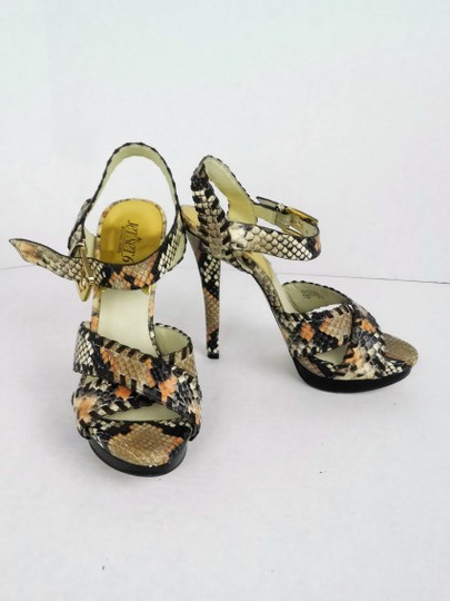 MICHAEL Michael Kors Hardware Leather Snakeskin Strappy Party BROWN, GOLD Platforms