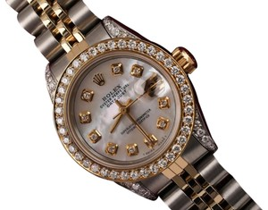 Rolex Ladies Steel And Gold 26mm Datejust White mop Diamond Dial