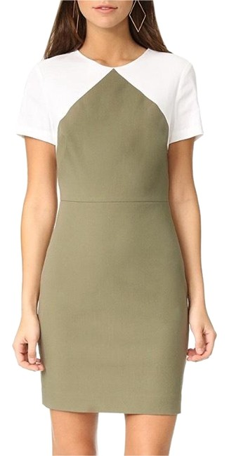 Preload https://img-static.tradesy.com/item/23211630/diane-von-furstenberg-olive-green-linen-white-dvf-sleeve-color-block-tailored-sheath-short-workoffic-0-1-650-650.jpg