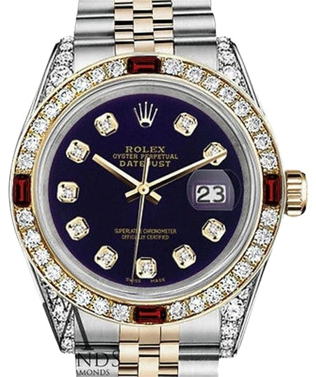 Rolex Rolex S/Steel & Gold 36mm Datejust Watch Purple Dial Ruby & Diamond